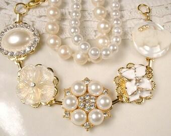 Ivory Pearl Rhinestone Gold Bridal Bracelet, OOAK Vintage Cluster Earring Bracelet Bridesmaid, Wedding Gift Something Old Flower Romantic