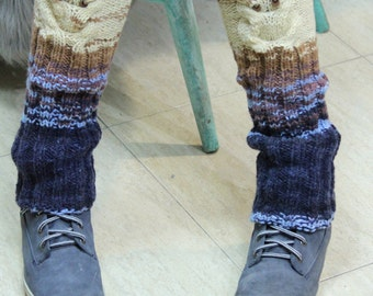 Knitted Legs Warmers, Owl Pattern Legs Warmers, Brown Blue Boot Toppers, Cable Boot Cuffs, Fingerless Legs Warmers, Knitted Winter Accessory