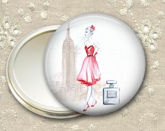 fashionista pocket mirror,  original art hand mirror, mirror for purse, bridesmaid gift, stocking stuffer  MIR-FASH-6