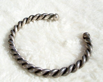 Twisted Cable Cuff Bracelet Navajo Sterling Silver Rope Native Vintage