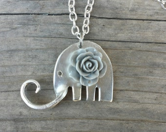 Cute Antique silver-plated Fork Elephant