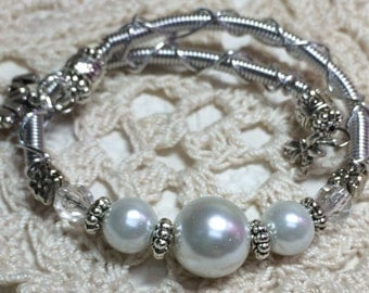 Memory Wire Bracelet with Pearl and Charms