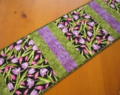 Table Runner, Floral Table Runner, Quilted Table Runner, Handmade Table Runner, Tablerunner Quilted, Spring Table Runner,Tulips