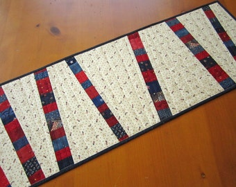 Table Runner, Patriotic, Quilted Table Runner, Handmade Runner, Home Decor, Patriotic Decor, Patchwork Runner, Table Linen, 4th of July