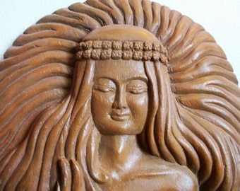 Vintage Round Wooden Carved Woman with Long Hair Plaque