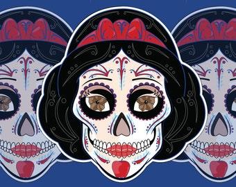 Snow White Sugar Skull 3x4 Vinyl Sticker