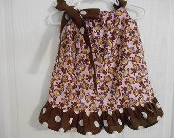 Girls pink monkey pillowcase dress with ruffle infant thru 8 years choose of color of tie and ruffle starting at 14.50