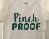 St Patrick's Day onesie, Pinch Proof baby boy onesie, baby boy St Patrick's Day Onesie