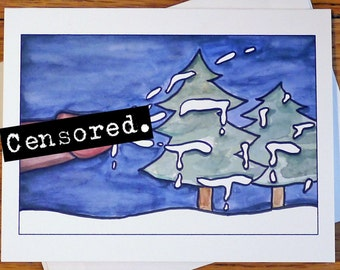 Funny / Rude Christmas Card - White Christmas - Mature Adult Holiday Card - Semen Pun - Greeting Cards - Watercolor - Rude Cute Funny Witty