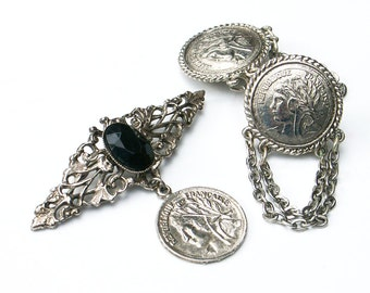 Brooch and Clip On Earrings Republique Francaise Coin Design Vintage Costume Jewelry