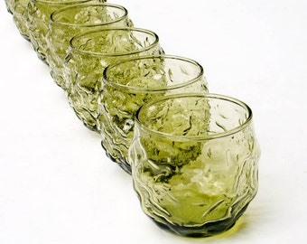 Anchor Hocking Milano Lido Green Roly Poly Crinkle Glass Set of Seven Juice Glasses