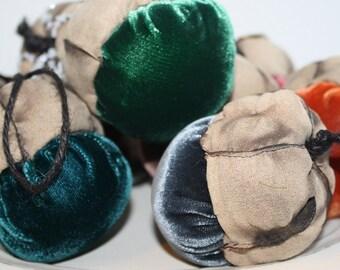 Plush Velvet Handmade Acorn Decoration - Teal