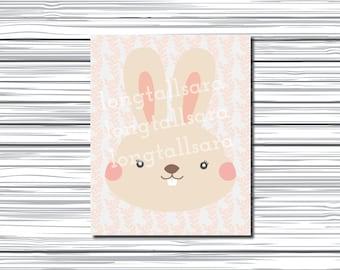 Printable Vector Nursery Art - Rabbit - Woodland Creatures - Instant Download