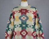 Vintage 80s Women's Cream Tribal Navajo Design Wool Fall Winter Southwestern Pullover Sweater