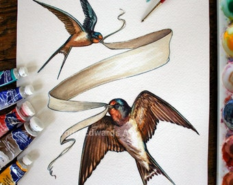 Barn Swallows - Original Watercolor Painting