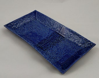 Royal Blue Serving Tray Asian Leaf Texture Handmade Pottery by Daisy Friesen- READY TO SHIP