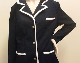 Vintage 1970's Navy and White Summer Blazer