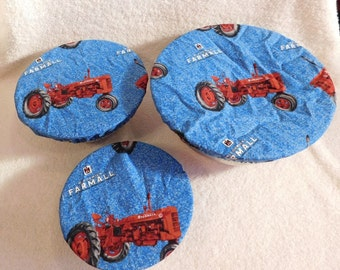 Handmade Set of Three Reusable Farmall Bowl Covers, Elastic bowl cover, eco-friendly, lid cover, dish cover, IH, food storage, red tractor