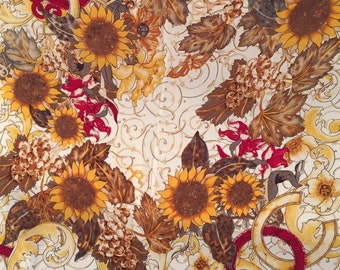 Rich Autumn Sunflowers and CC Vintage Silk Scarf France