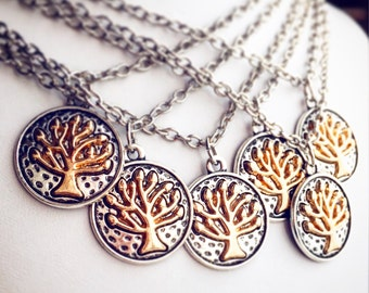 SALE 8.00 Tree of Life Pendant Necklace / Pick your Length / Nature Lover Gift Boho Hippie Family Tree Two Tone Renaissance Faire Larp
