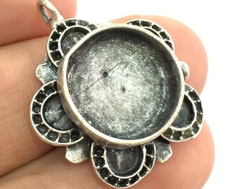 Pendant Blank Base Setting Necklace Mountings Cabochon base(16 mm blank) Antique Silver Plated Brass  G5279
