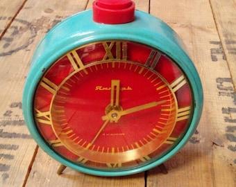 25% SALE OFF Vintage alarm clock Jantar from Soviet Union era turquoise color clock