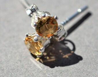 November birthstone earrings, 4mm citrine and sterling silver stud earrings