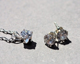 cubic zirconia pendant and earrings set, April birthstone jewellery, bridesmaids gift, mother of the bride or mother of the groom gift