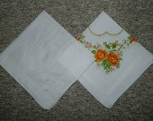 2 Vintage Hanky Good Vintage Condition #2588