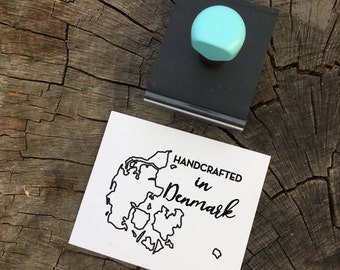 Handmade in Stamp, Handcrafted Stamp, Small business, Robins Egg Blue, Blue Handle, Rubberstamp, Packaging Stamp, Rubber Stamp
