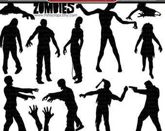 SALE - Zombie Silhouettes, Halloween ClipArt, Zombie Clip Art, PNG Digital Stamps + PS Brushes, Commercial Use Halloween Graphic Download