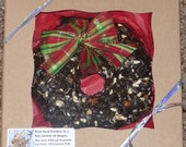 Bird Seed Wreath Feeder One pound size with hanger - Organic - ornament - gift boxed