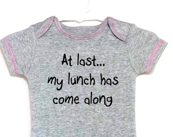 Funny Baby Onesie At Last Gray Heather Pink Stitching