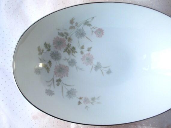 Vintage Floral Pastel Noritake Barbara Oval Serving Bowl