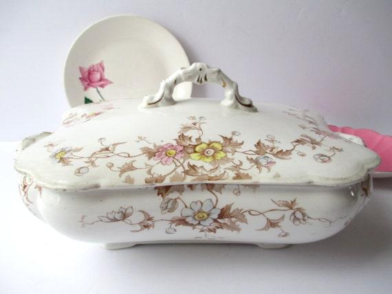 Antique Henry Alcock Floral Covered Dish - Elegance