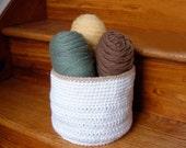 Crochet Storage Basket, Bin, Container, Holder, Organizer, Home Decor, White, Tan