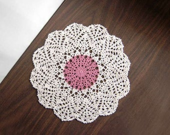 French Country Cottage Crochet Doily, Dusty Rose, Ecru, Lace Doily, Table Accessory, Home Decor, New