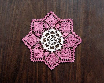 Cottage Chic Pink Crochet Lace Doily, Modern Home Decor, New Table Accessory, Dusty Rose, Ecru