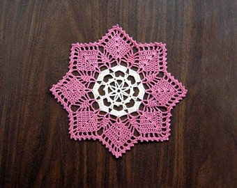 Compass Rose Crochet Lace Doily, Handmade Table Decoration, Home Decor, Fiber Art