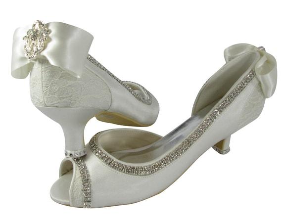93919c4fb8f62 Ivory Wedding Heels Bridal Shoes 2 Inch 35 45 Peep Toe. Toms Lace Wedding  Shoes
