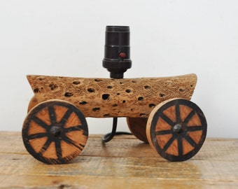 Vintage Salvaged Cactus Wagon Lamp