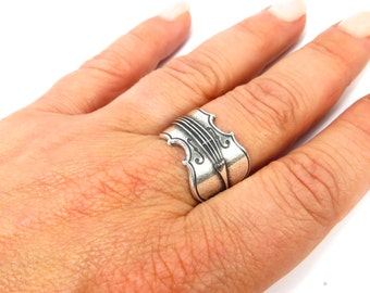 New Cello Ring- Sterling Silver Ox or Antiqued Brass Ox Finish- Large Cello