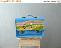 40% OFF SALE // Vintage school bag. Leatherette briefcase. Blue children school bag