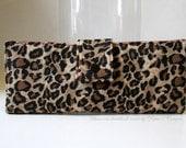 Handmade business checkbook cover - animal print - Cheetah - Long checkbook - Custom order - Side tear or top - Credit card pocket