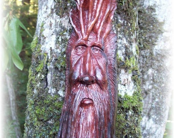 Green man wood spirit, hand carved from a redwood root, WoodforddellDesigns, one-of-a-kind wood carving, tree house wall art