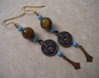 Tiger's Eye and Chinese Coin Earrings - Good Luck, Fortune, Prosperity