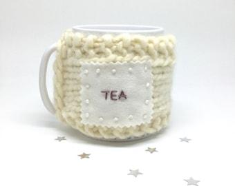 Real Wool Embroidered Cup Cosy. Mug Warmer. Cream Chunky Knit Luxury Cup Woolly. Mug Hug. Tea Jumper. Merino Yarn Mug Sweater. By mirrymirry