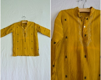 1970s golden woven boys kurta / bright yellow orange tunic shirt