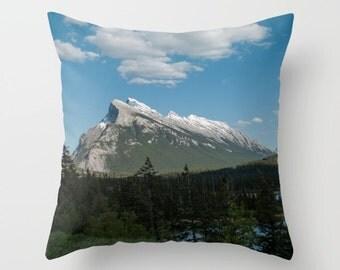 Mountain Home Accent, Rustic Mountain Lodge Decor, Blue Sofa Accent Cushion Case, Mount Rundle, Alberta, Mountain Pillow Case Handmade