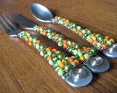 Custom Beaded Silverware - Appetizer Set - You pick the color - Cocktail Set - Hostess Gift - Butter Knife - Sugar Spoon - Pickle Fork